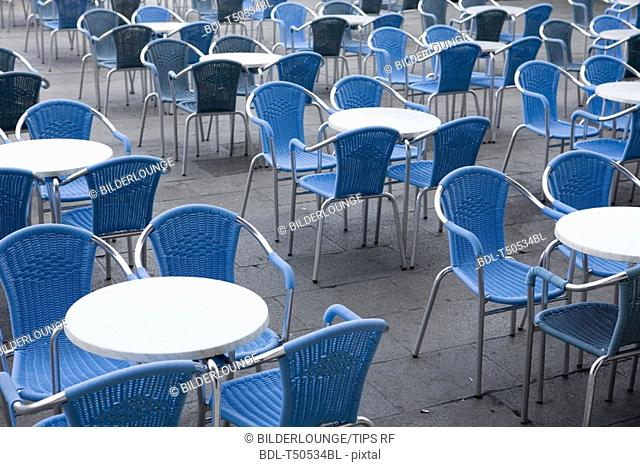 Italy,Venice, Piazza San Marco  Cafe chairs and tables
