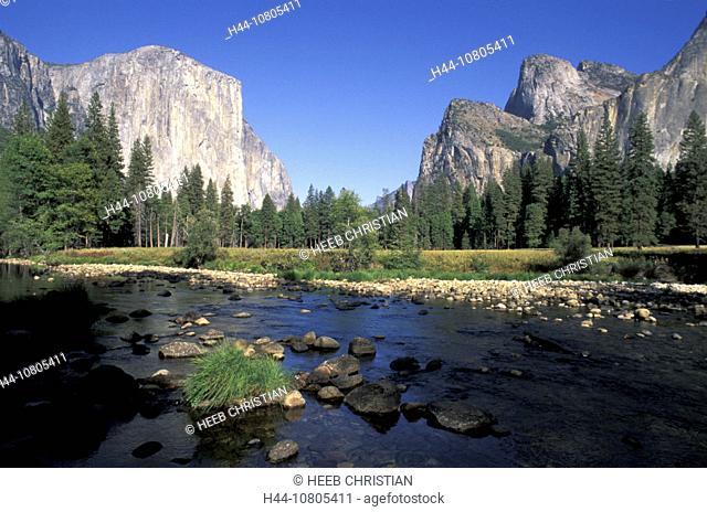 California, Merced River, river, landscape, mountains, North America, USA, America, United States, Yosemite, nationa