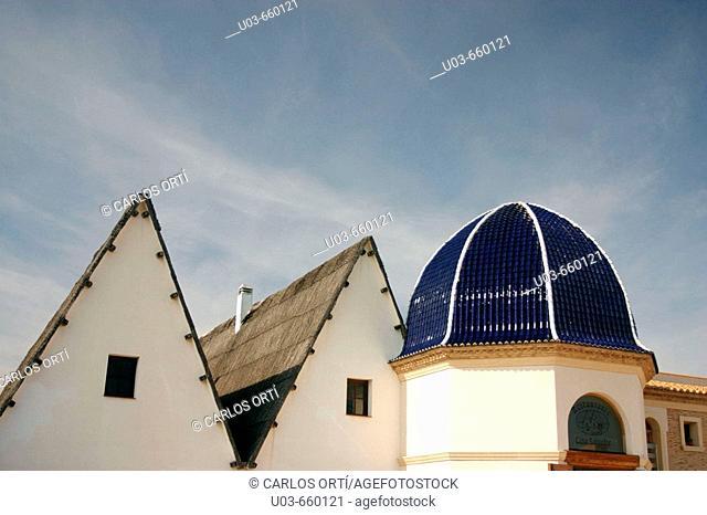 Dome and barracas. Cullera, Valencia province. Mediterranean Sea, Spain