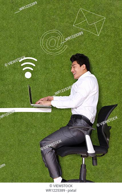 Young man lying on grass with laptop
