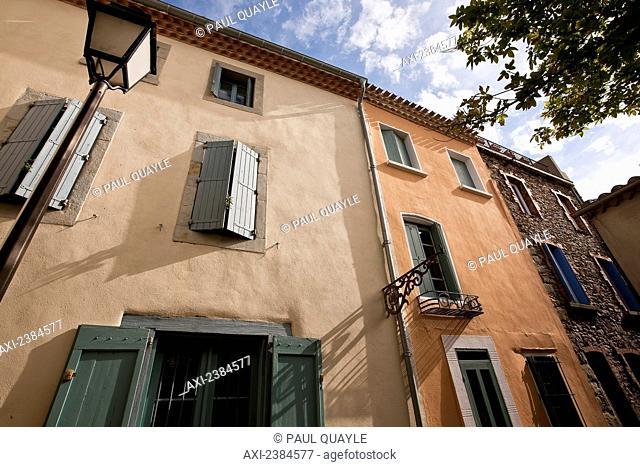 Low angle view of a residential building; Carcassonne, Languedoc-Rousillion, France