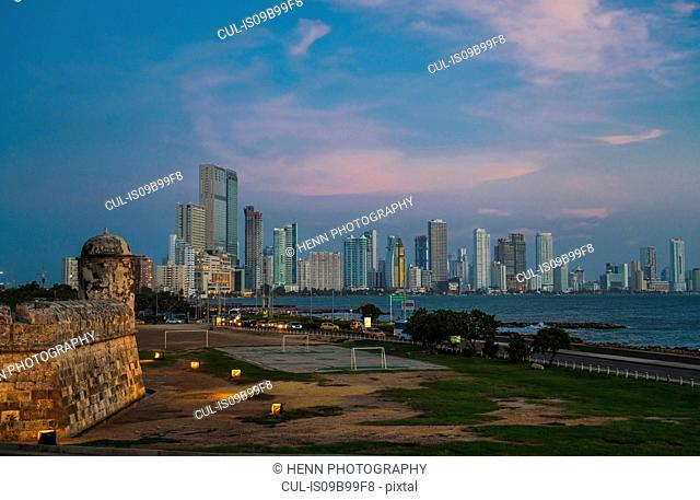 Skyline of Bocagrande, Cartagena, Bolivar, Colombia, South America