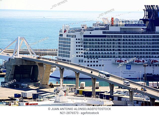 Porta d'Europa bascule bridge. Part of the enormous Norwegian Epic cruise ship is seen on the right. Port of Barcelona, Catalonia, Spain, Europe