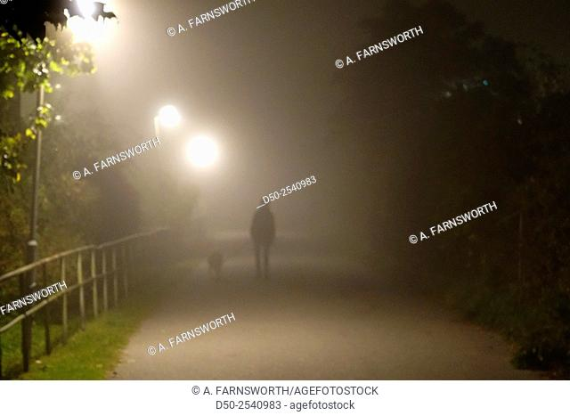 Pedestrian walkway, path in autumn fog, Fruängen, Stockholm, Sweden
