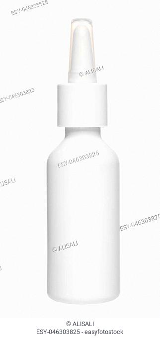 white plastic nasal drops bottle with dispenser pump, mock up, isolated on white background, close up