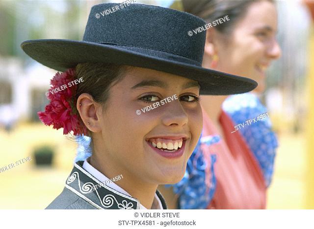 Andalucian, Andalusia, Annual, Costume, Fair, Fiesta, Holiday, Horse, Jerez de la frontera, Landmark, May, Model, Portrait, Rele