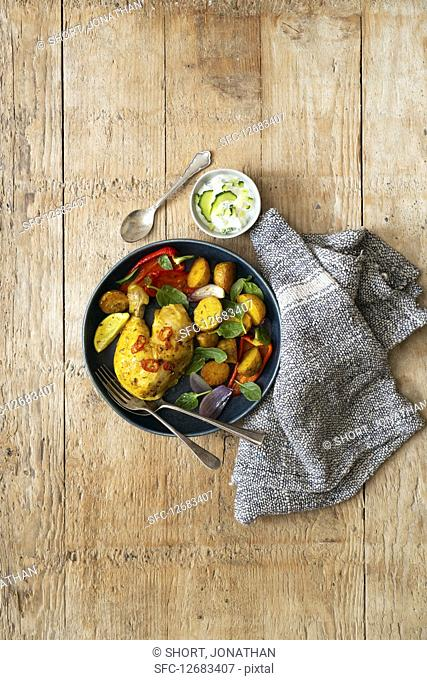 Roasted Tumeric Potatoes with Chicken and Peppers