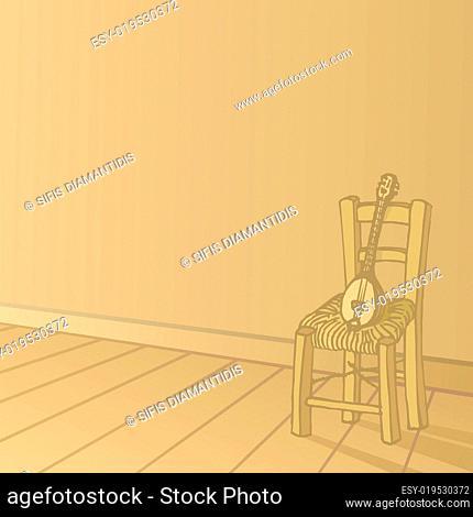 baglamas resting on chair