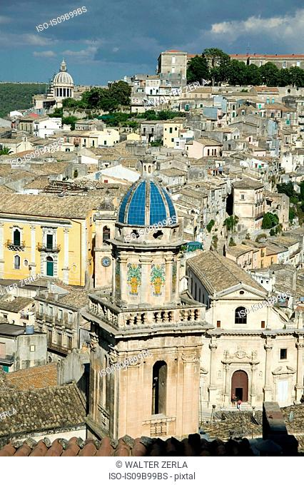Rooftop cityscape of Ragusa with church domes, Sicily, Italy