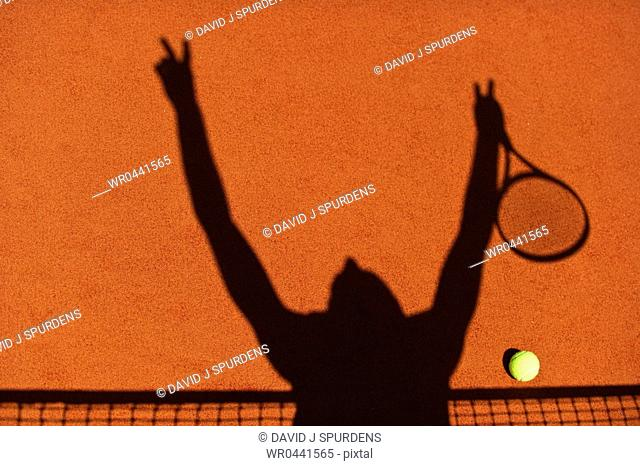 The silhouette of a tennis player celebrating at the net