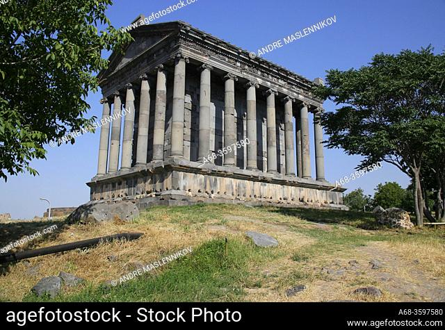 Ancient Roman Pagan Temple of Garni. The temple was built in the second half of the first centuryB. C. and dedicated to a heathen god, probably to Mithra