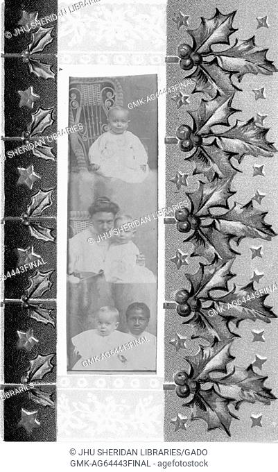 Christmas card with images of holly leaves and berries, decorated with a set of three photographs of an African American mother and child, South Carolina, 1908