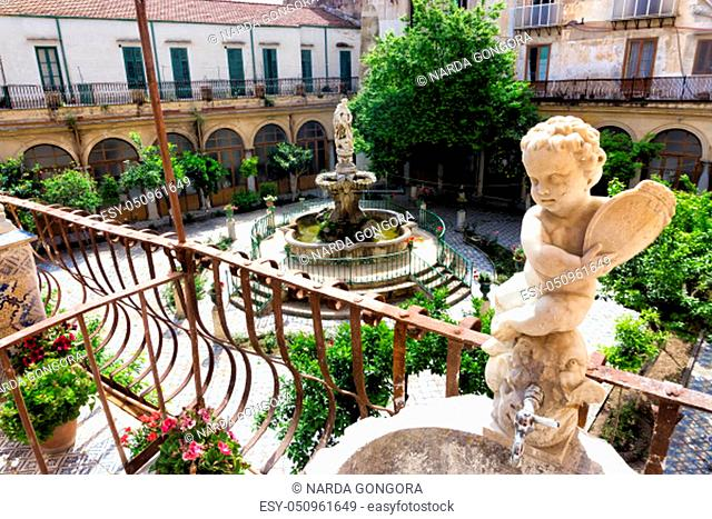 View of the Courtyard from the balcony of the Saint Catherine Cloister in Palermo, Italy