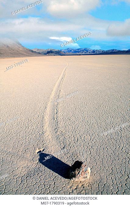 Death valley landscape, moving rocks, California, United Estates