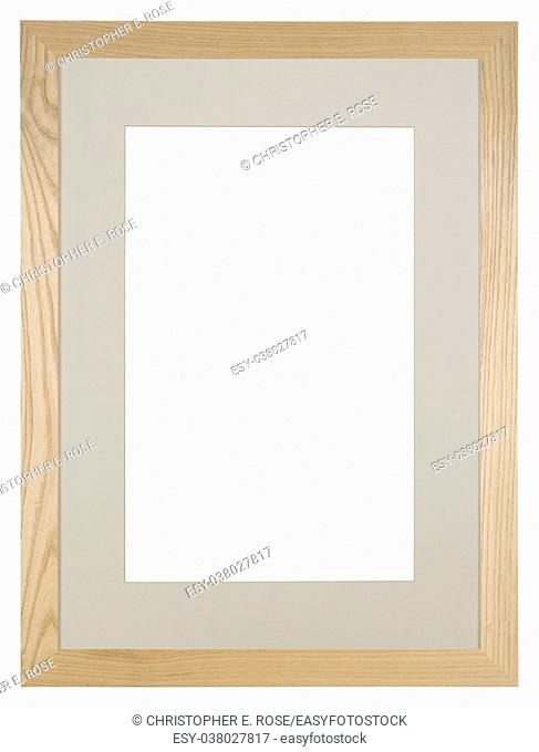 Empty picture frame isolated on white, light oak wood and a mount