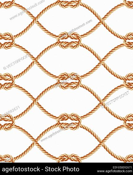 realistic seamless pattern with brown twisted ropes and loops. Decorative ornament with hemp cords, macrame weaving. Abstract print for textile products