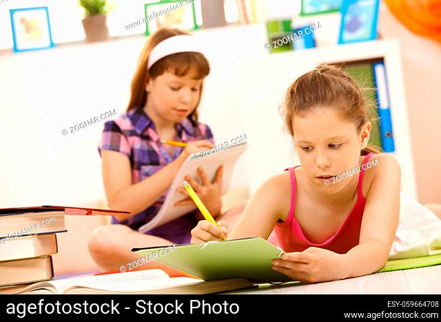 Schoolgirls doing homework at home, writing into exercise books