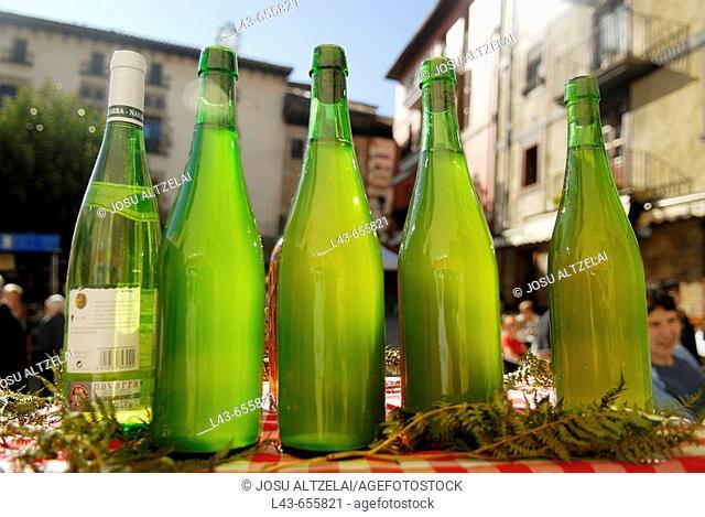 Cider bottles in Ordizia extraordinary market. Guipúzcoa. Euskadi. Spain