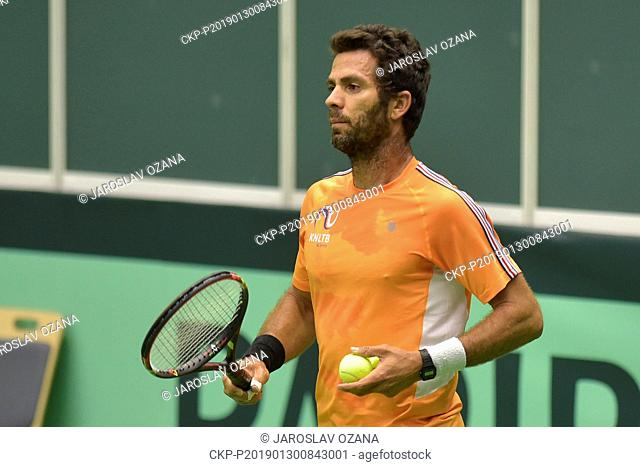 Netherland's Jean-Julien Rojer plays a ball during a training session in Ostrava, Czech Republic, January 30, 2019. In the new Davis Cup format