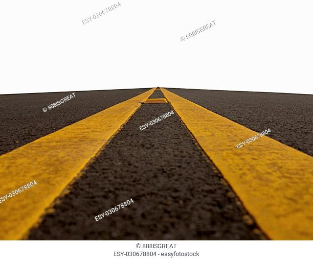 double yellow lined road isolated on a white background