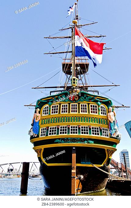 Maritime Museum and Dutch East India Company (VOC) ship, replica of the cargo ship from 1740, Amsterdam, Netherlands, Europe