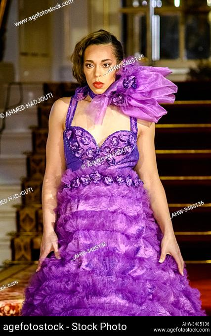 PARIS, FRANCE - FEBRUARY 29: A model walks the runway during the Fashion Week Studio show wearing the designs of Guillermo Garcia as part of Paris Fashion Week...