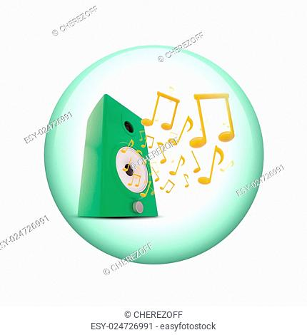 Music notes around audio speakers. Spherical glossy button. Web element