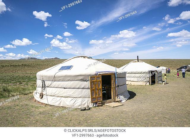 Mongolian traditional nomadic gers. Bayandalai district, South Gobi province, Mongolia