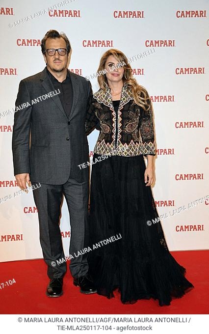 Gabriele Muccino and his wife Angelica Russo during the Red Premium Campari Red Diaries, Rome, ITALY-25-01-2017