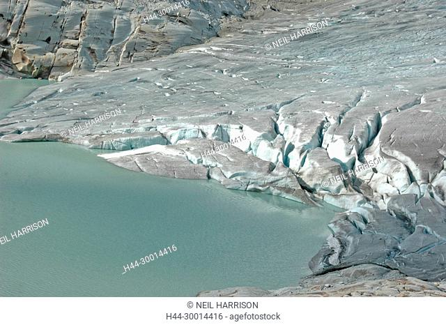 The Rhone Glacier, feeds the source of the River River Rhone in Switzerland