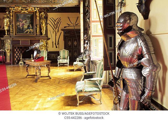 Arms Room, Château de Cheverny. Loir-et-Cher, France