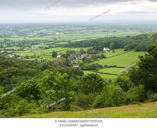 The village of Compton Bishop and the Somerset Levels beyond viewed from Compton Hill in the Mendip Hills Area of Outstanding Natural Beauty, Somerset, England