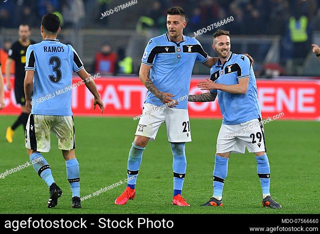 Lazio football player Sergej Milinkovic Savic celebrating after score the goal during the match Lazio-Inter in the olimpic stadium