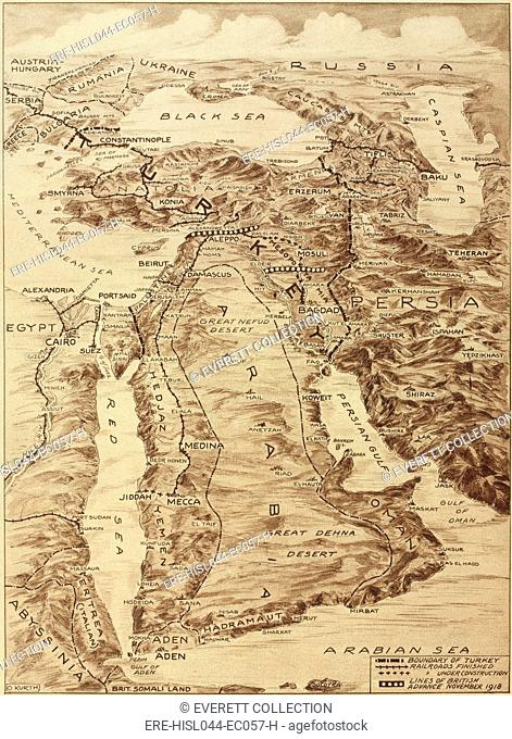 First World War Map of the Middle East. When defeated Turkey lost its Ottoman Empire, Britain and France implemented the Sykes-Picot Agreement and divided the...