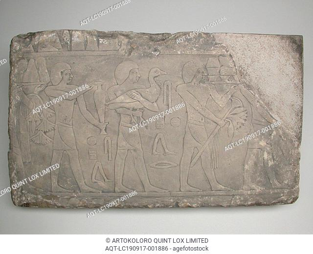 Wall Fragment from a Tomb Depicting Offering Bearers, Old Kingdom, Dynasty 5 (about 2494–2345 BC), Egyptian, Saqqara, tomb of Akhethotep (?), Egypt, Limestone