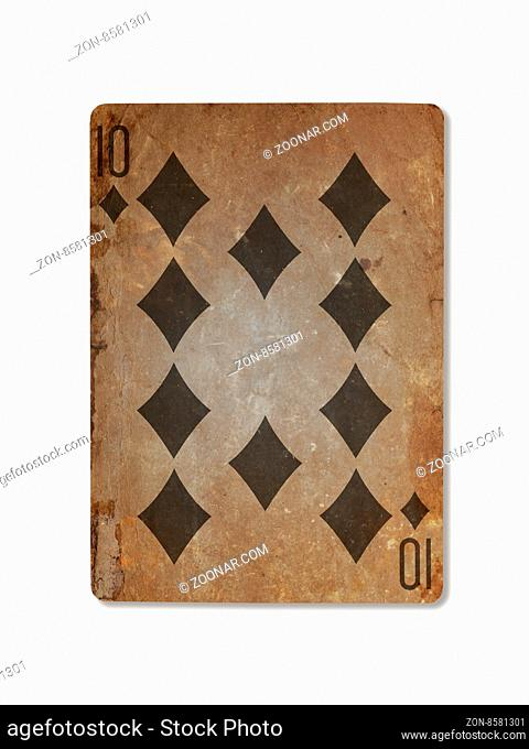 Very old playing card isolated on a white background, ten of diamonds