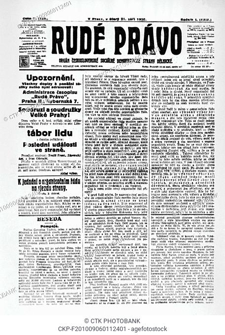 First edition of the Rude pravo (Red Justice) newspaper from 21st September, 1921. Rude pravo was the official newspaper of the Communist Party of...