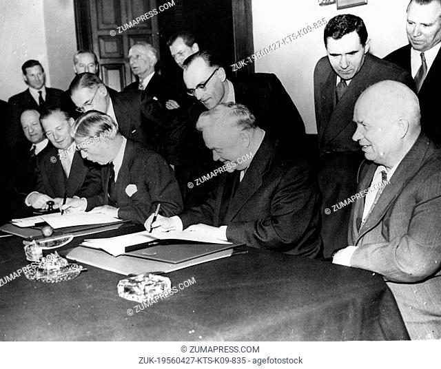 Apr. 27, 1956 - London, England, U.K. - Russian Prime Minister NIKITA KRUSCHEV, MARSHAL BULGANIN, SIR ANTHONY EDEN, SELWYN LLOYD and R.A. BUTLER