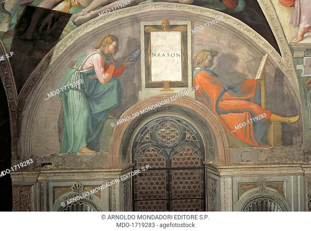 Sistine Chapel (Cappella Sistina), by Michelangelo Buonarroti, 16th Century, fresco. Vatican City, Vatican Museums. Detail of a lunette 1511 - 1512