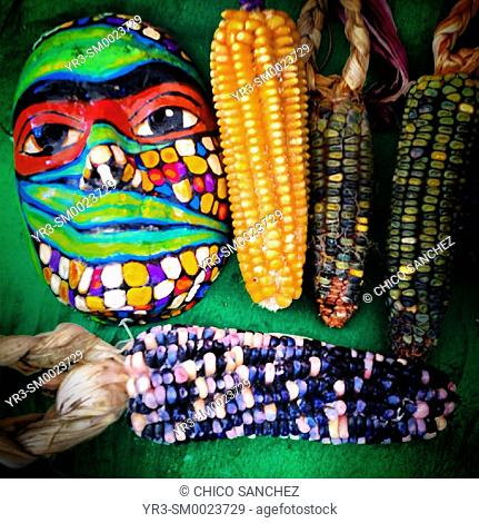 Native corn and a mask in a market in Mexico City, Mexico