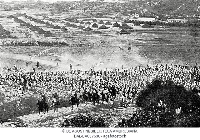 Assault maneuvers by Eritrean troops during military exercises in Asmara, Eritrea, photograph by M Carpano, from L'Illustrazione Italiana, Year XXXV, No 8