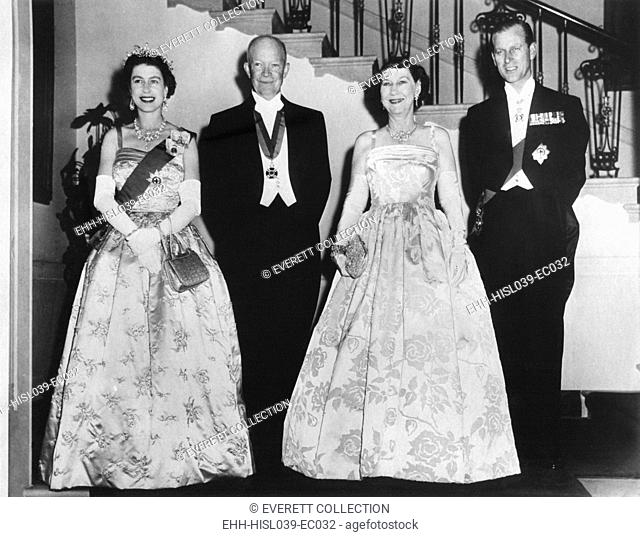 Queen Elizabeth II, President and Mrs. Eisenhower, and Prince Philip before a State Dinner. The White House. Oct. 17, 1957. - (BSLOC-2014-16-215)