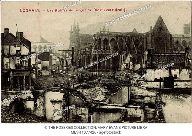 Louvain (Leuven), Belgium - damage in the Rue de Diest during WW1, with St Peter's Church on the right showing some damage to the roof