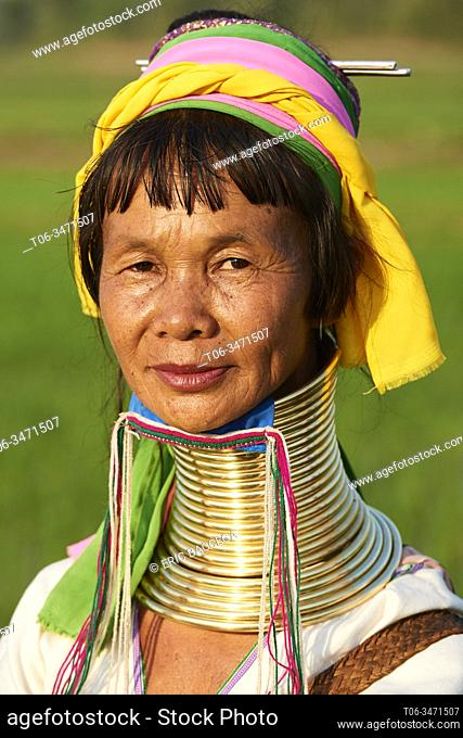Head portrait of a Kayan Lahwi woman with brass neck coils and traditional clothing. The Long Neck Kayan (also called Padaung in Burmese) are a sub-group of the...