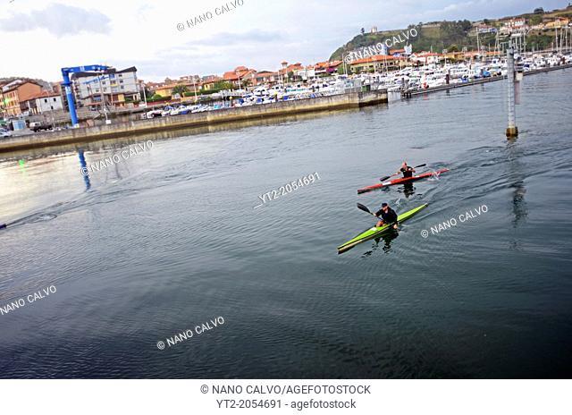 Kayakers in Sella River, Ribadesella