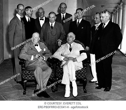 World War II. Seated, from left: British Prime Minister Winston Churchill, US President Franklin Delano Roosevelt. Standing, from left: Eelco Van Kleffens
