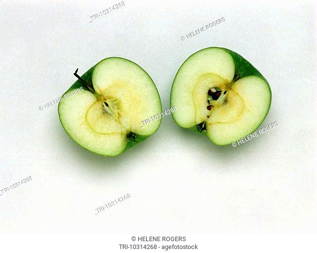Green Apple Granny Smith Cut In Half