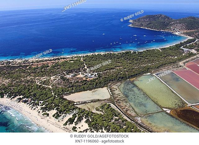 Ses Salines, Mitjorn beach at the bottom, Es Cavallet beach on top, Falco cape on the top right, Ibiza, Balearic Islands, Spain