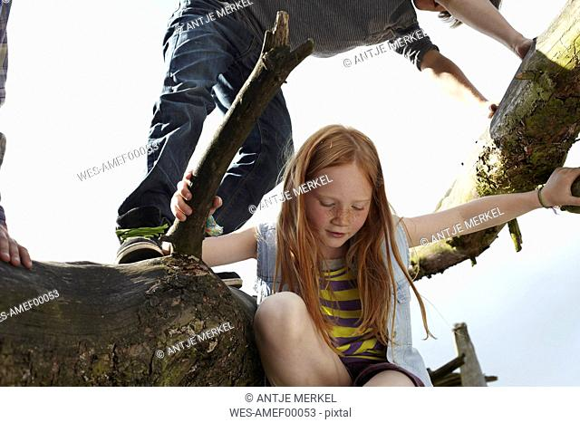 Redheaded girl with friends climbing in a tree