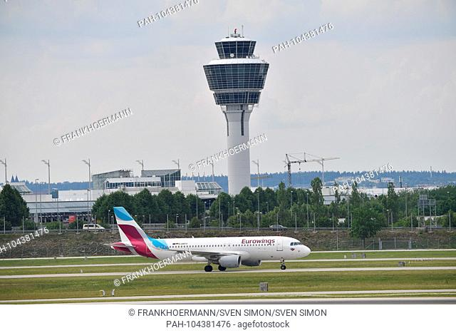 D-ABFO - Airbus A320-214 - Eurowings on the tarmac in front of the tower. Airline, airline, flyer, air traffic, fly.Aviation